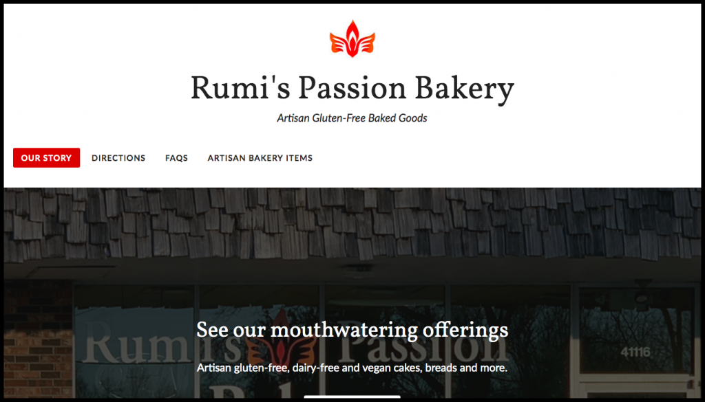 rumis passion site shows the our story tab selected