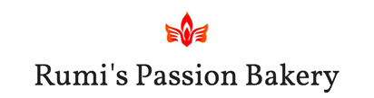 Roo me passion bakery logo words in black lowercase soft serif font. Centered above is a red orange stylized lotus flower bud with an open leaf on either side of the bud