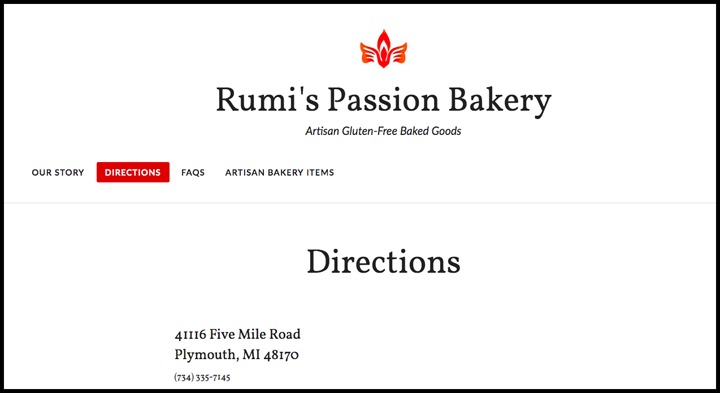 Rumi's passion website screenshot of the directions page