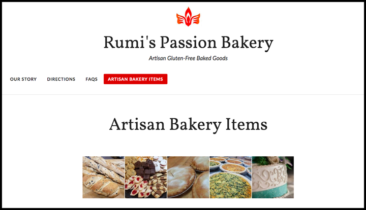 Rumi's passion website screenshot of the bakery menu page