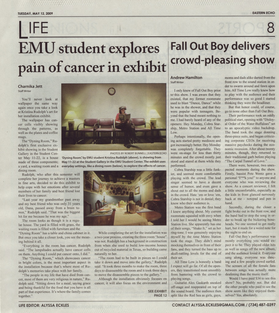 Eastern Michigan University Echo did a news article about the show (page 1 of 2)