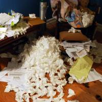 Floor filled with tissues and bills