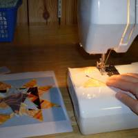 Sewing each quilt square