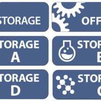 Blue rounded rectangular plaque labels for storage closet doors. They are labeled storage, office, storage A, storage B, storage D and storage C