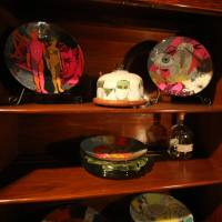 Decoupaged China cabinet plates
