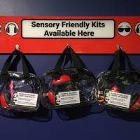 Hanging sensory friendly kits with cards