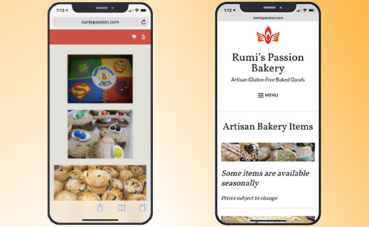 Left image shows old mobile site on an iPhone. There is a tiny red stripe at the top with a few tiny buttons in the right corner that are difficult to see. The main page shows three poorly lit but large images of a sheet cake, cookies with m&m eyes on top of them, and a pile of muffins.