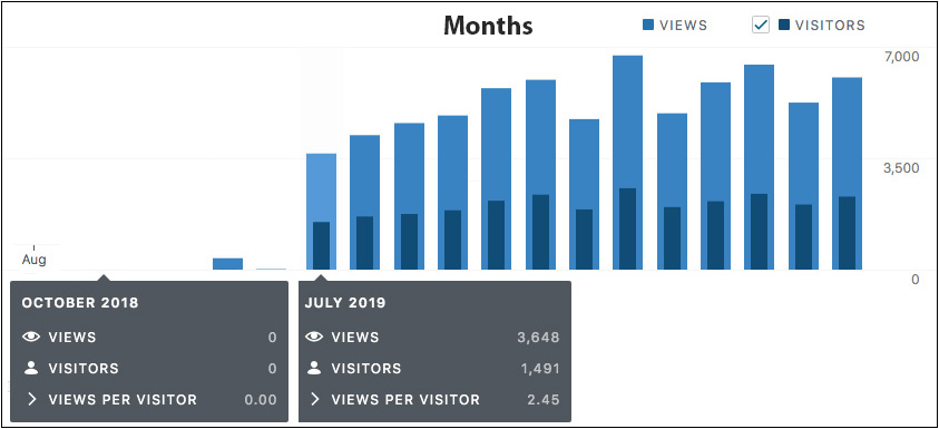A set of gradually increasing blue bar graphs are lined up in column showing approximations for monthly visitors from zero in August 2018 until June of 2019. The site launched in July with 3,648 views and 1,491 visitors. The bars in between the last bar range between 3, 500 and 7,000. The last blue bar at the far right shows July 2020 on the higher end closer to the 7,000 view mark.