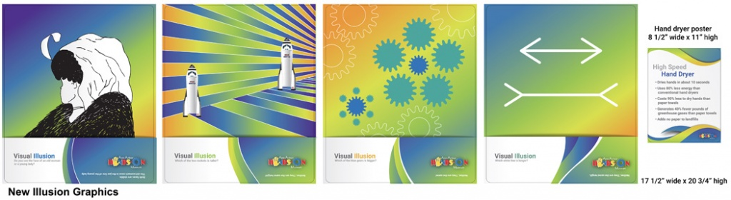 Four designs of visual optical illusions and an image to the left of these with a small sign where the only legible text says hand dryer. Each of the four posters have bright gradients that go from blues and green colors to yellow and orange colors.