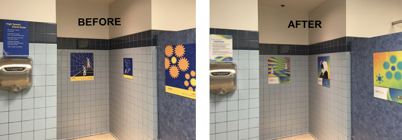 Two images of four primarily blue signs hanging in a bathroom with light blue tiles and a border of dark blue tiles near the top. the word before reads in white on the left image. The right image says after and underneath is the same bathroom with brighter and more colorful graphics. Both sets of graphics show visual optical illusions.