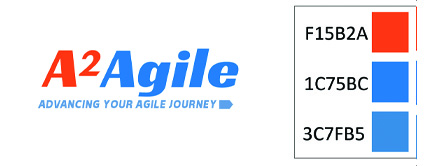 Two images from left to right. 1. A2Agile logo shows A2 in a orange san-serif font with the word Agile at it's immediate right in a soft blue. Underneath these words it says Advancing Your Agile Journey with a subtle light blue arrow pointing to the right after the Y in journey. 2. Three rows of number letter combinations to the left of three small colored boxes. Each number combination represents the A2Agile Pantone colors of orange, blue and light blue stacked respectively.