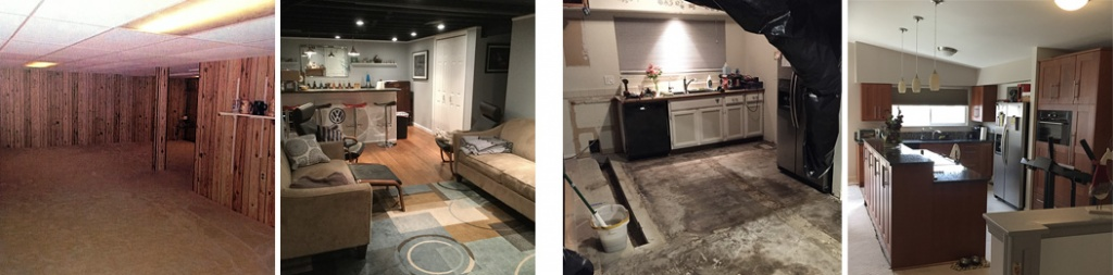 4 images from left to right. 1. A 70's paneled brown wall basement with a low yellowed drop ceiling and old florescent recessed lighting with yellow carpet in an open floorplan. 2. A completely redesigned basement with a painted black rafter ceiling and modern recessed lights with light blue painted drywall, white panel closet doors, a bar, and two tan couches in a warm cozy space. 3. Mid kitchen remodel showing a dirty subfloor, a trench dug, some old white painted cabinets not yet removed and black tarps hang from the ceiling. 4. A newly remodeled kitchen with a raised island, brown wood flat panel wall cabinets on either side of a far window with a wood pantry and island and a dark granite gray/black countertop. Three pendant lights hang from the ceiling.