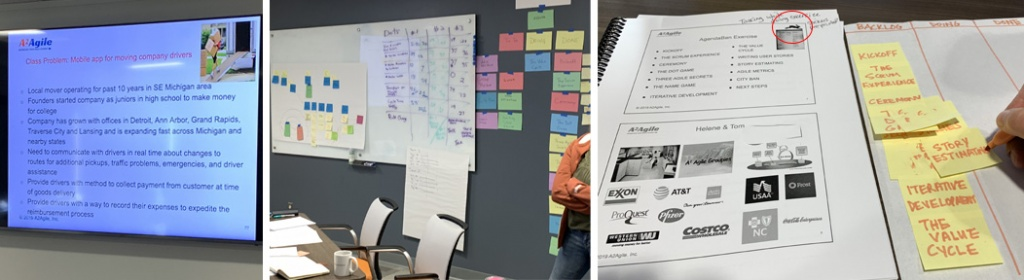 Three images. 1. a flat screen tv shows an unreadable slide with a long list of black text on a white background 2. a wall covered in colored notecards, large white paper with post-it-notes and other illegible text written on a white board. 3. A spiral bound page from the workshop notebook shows some illegible text and some brand logos below it which mimic earlier slides. To the right of the notebook is a piece of white paper with three drawn columns and yellow sticky notes are stacked down the left side of the first drawn column
